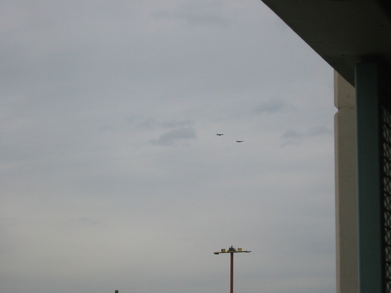 There were lots of military planes in the sky, including these two fighter jets.