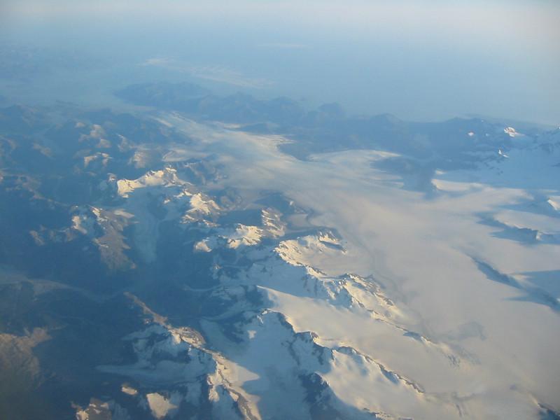 Various aerial views of glaciers between Juneau and Anchorage.