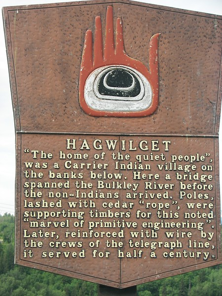Hagwilget was a Carrier Indian Village on the banks of the Bulkley River.
