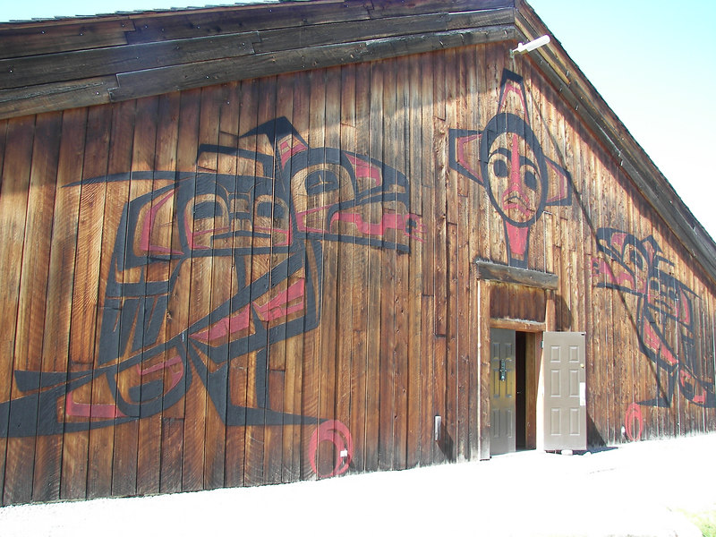 "The tribal ""Long House"" in ""Ksan Village"" Following the Gitxsan tradition, these houses are built in a single line facing the river."
