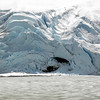 Bear Glacier. Note bright blue stripes showing through the top layer of snow.