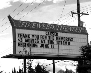 "Fireweed Theater - Anchorage - Alaska - USA  ""The Fireweed Theatre was the largest in Alaska when it opened in 1965, with seats for more than 1,500 viewers. It has since been upgraded, remodeled, stripped and largely rebuilt. The drive-in theater once next to it -- which hosted national rock acts like Savoy Brown, Kiss and Rare Earth in the 1970s -- is now the site for rental storage units. ""  The buildings have been torn down and all that is left is an empty lot and two signs."