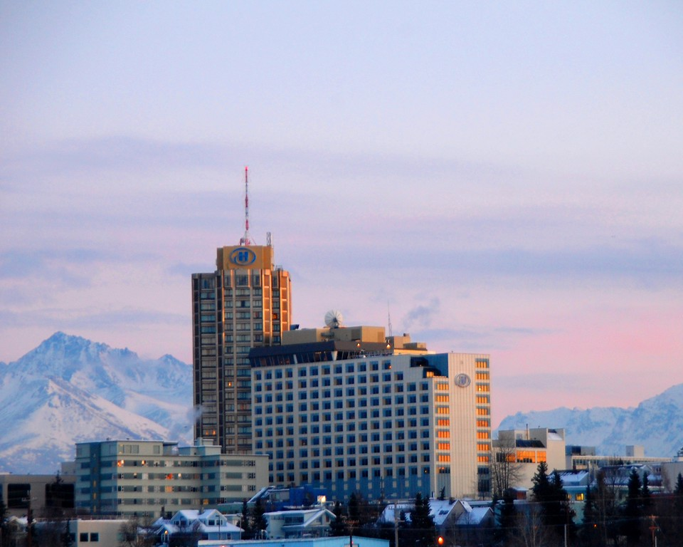 Hilton Hotel - Sunset - Downtown Anchorage - Building - Architecture -  Anchorage - Alaska - USA