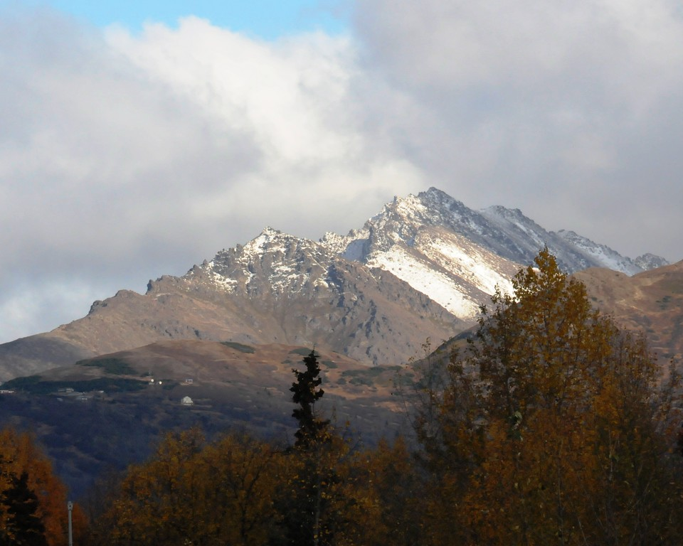 Snowy Peaks - Chugach Mountains - October - Anchorage - Alaska - USA<br /> <br /> Snowy peaks in early October. It has not come down the mountain into the city but there has been several hard frosts.
