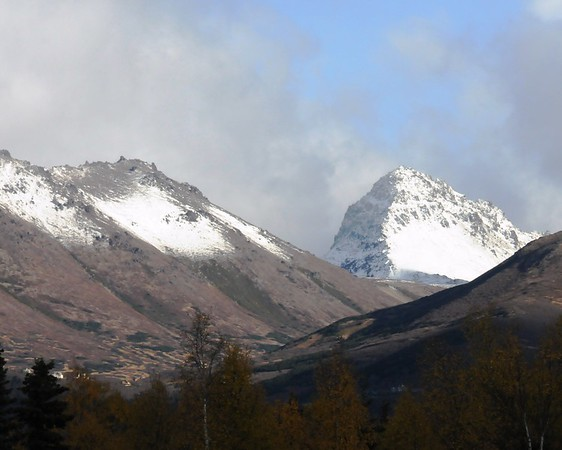 Snowy Peaks - Chugach Mountains - October - Anchorage - Alaska - USA  Snowy peaks in early October. It has not come down the mountain into the city but there has been several hard frosts.
