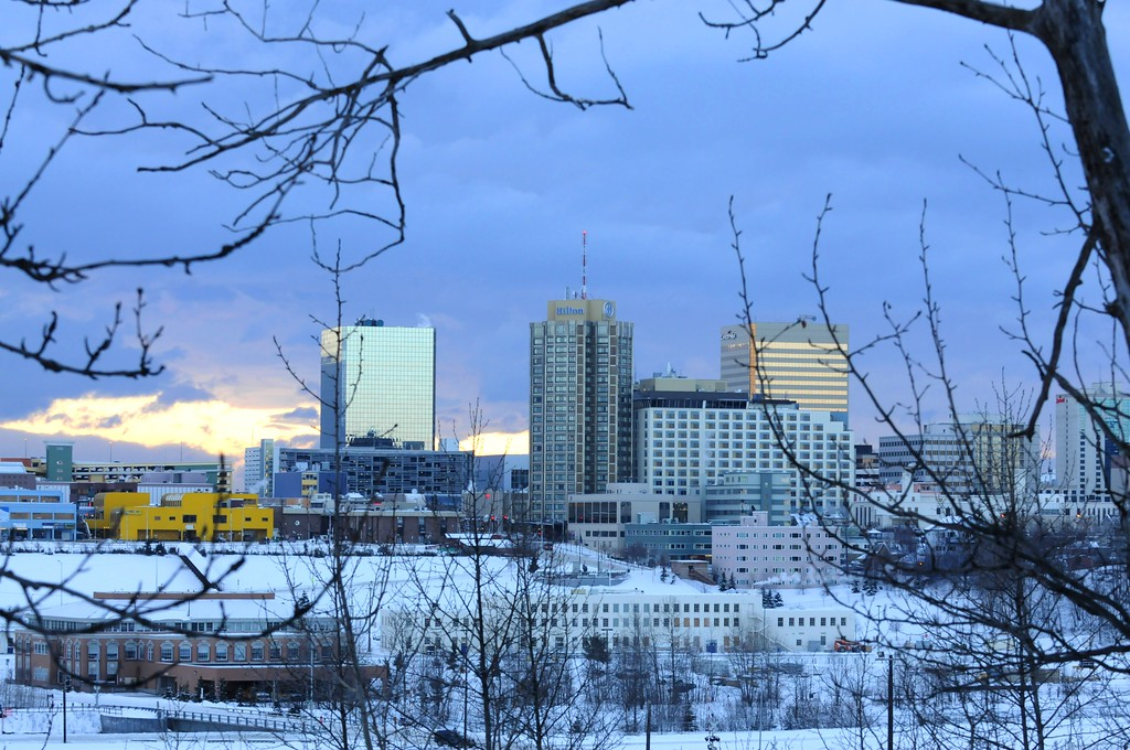 Sunset over Downtown - Buildings and City Shots - Downtown - Anchorage - Alaska - USA