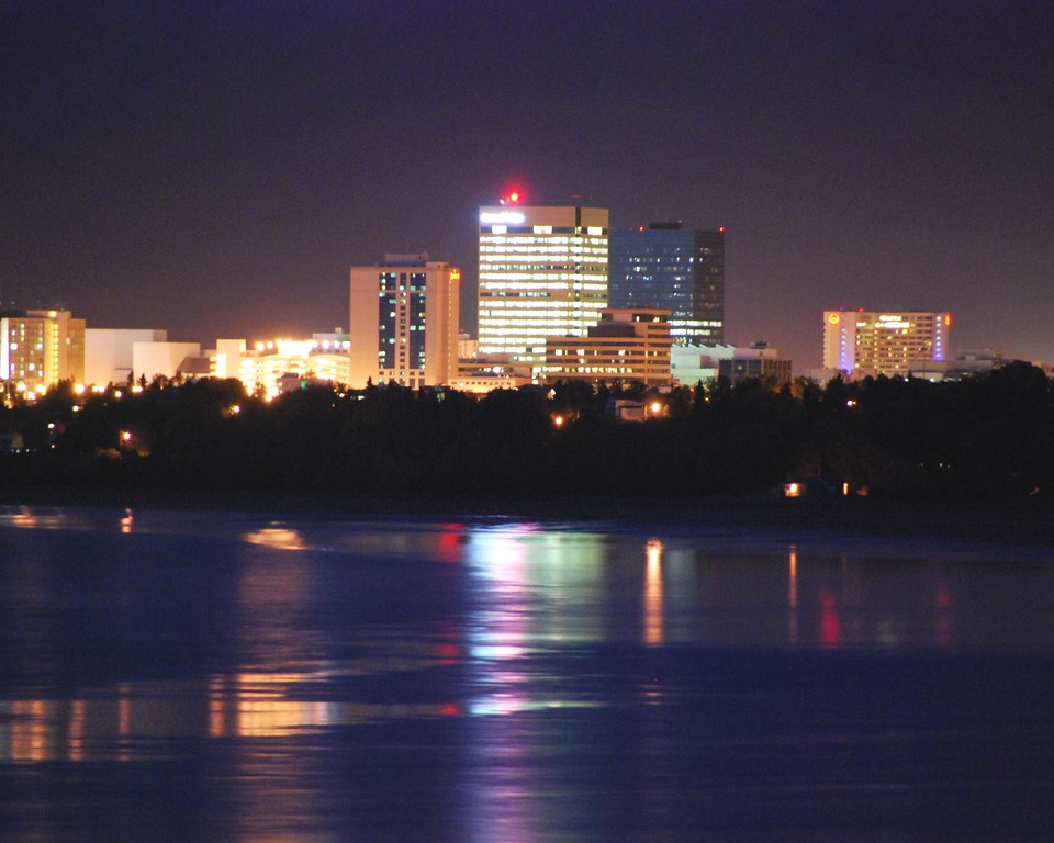 Downtown Anchorage City Scape - Night - Building - Architecture -  Anchorage - Alaska - USA