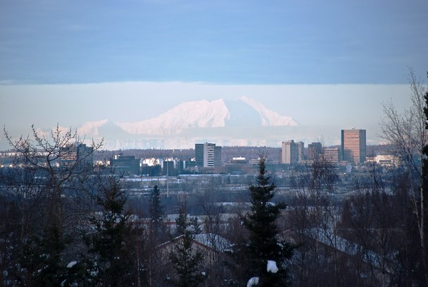 Mt. Foraker with Downtown Anchorage - Building - Architecture -  Anchorage - Alaska - USA