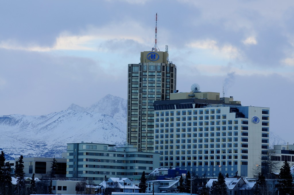 Hilton Hotel - Buildings and City Shots - Downtown - Anchorage - Alaska - USA