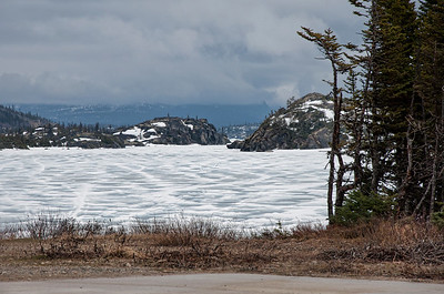 Ice and snow covered lakes.