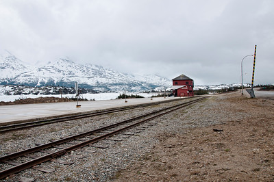 The White Pass & Yukon Route railroad in the middle of the mountains.