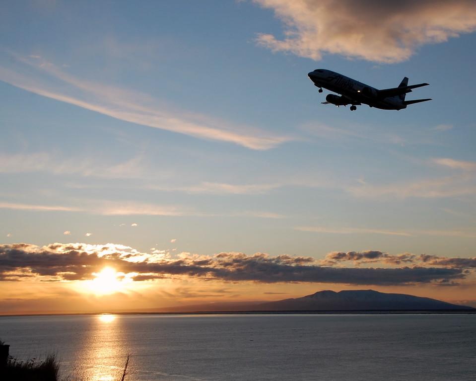 Sunset - Airplane - Sleeping Lady Mountain - Anchorage - Alaska  - USA