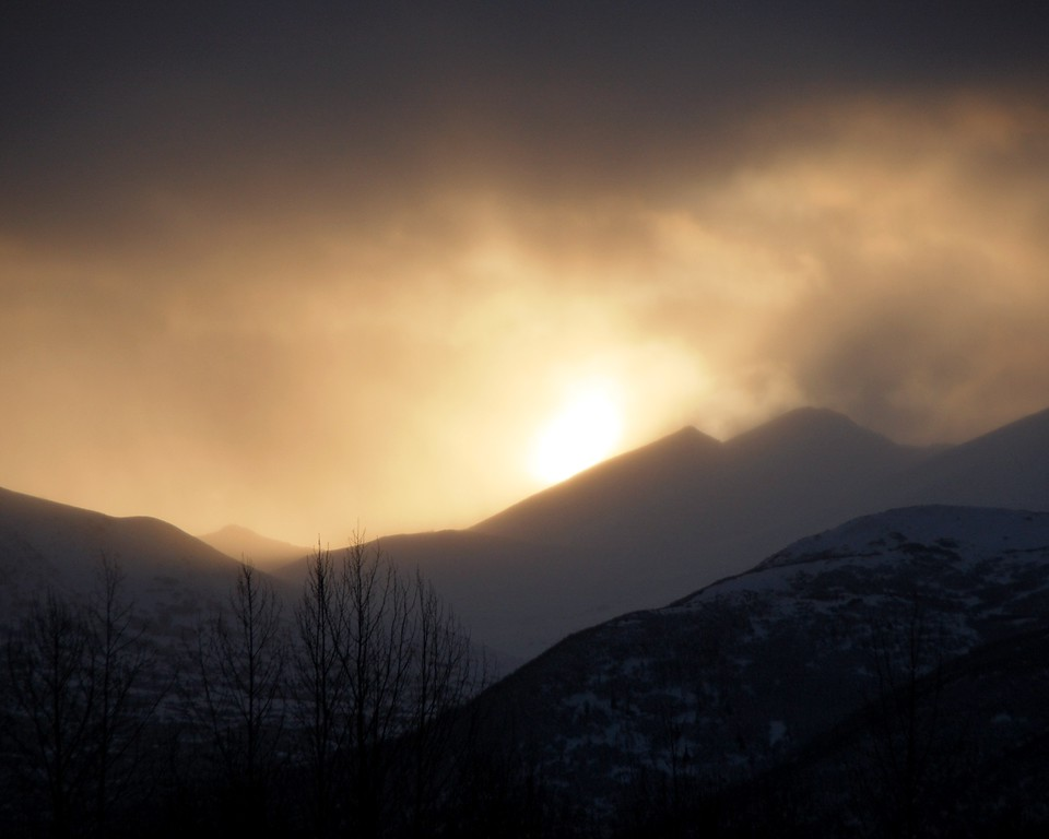 Sunrise - Hazy with ash from Mt. Redoubt Volcano - Anchorage - Alaska - USA