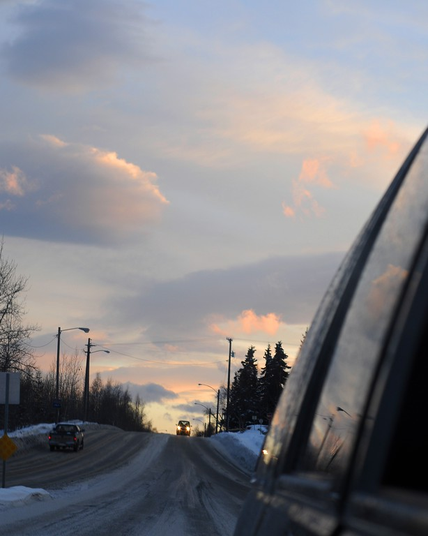 Sunrise in the Rearview Mirror - Sunrise - Anchorage - Alaska - USA