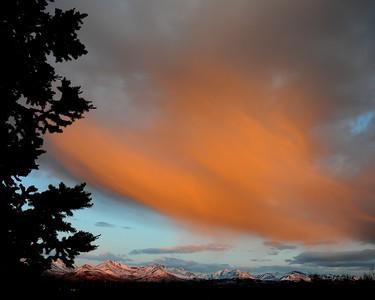 Sunset - Orange - Clouds - Chugach Mountains - Anchorage - Alaska  - USA