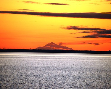 Sunset - Orange - Mount Redoubt - Turnagain Arm - Alaska  - USA