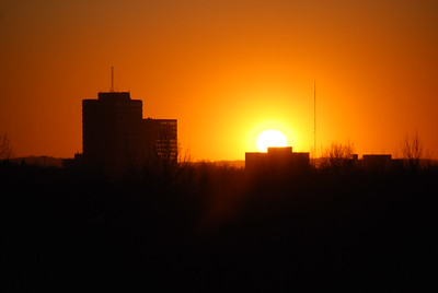 Sunset - Orange - Buildings - Anchorage - Alaska  - USA