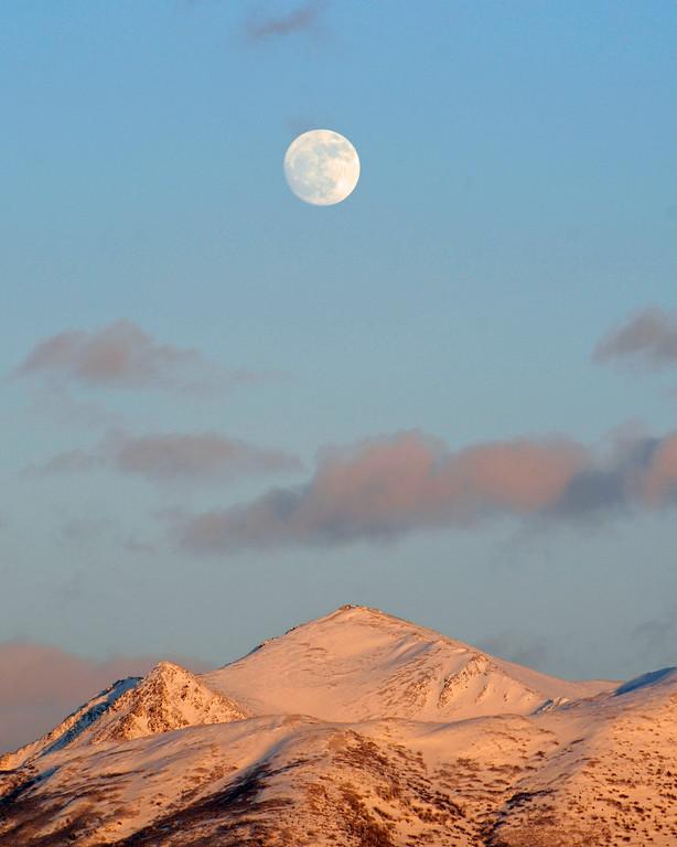 Moon and Mountains at Sunset - Anchorage - Alaska - USA