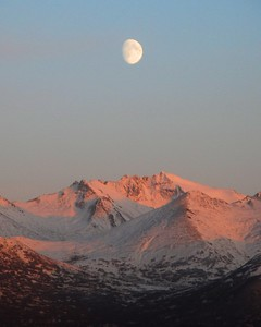 Sunset - Moon Over Mountains - Anchorage - Alaska  - USA