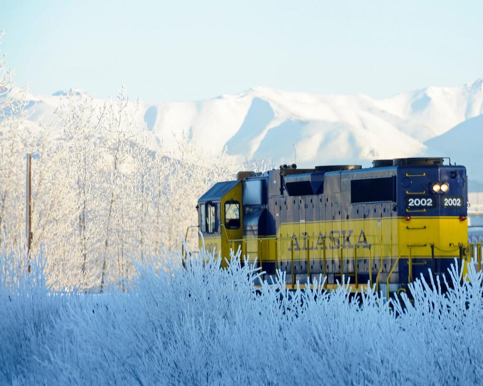 Alaska Railroad - Hoarfrost - Alaska Winter - Anchorage - Alaska - USA