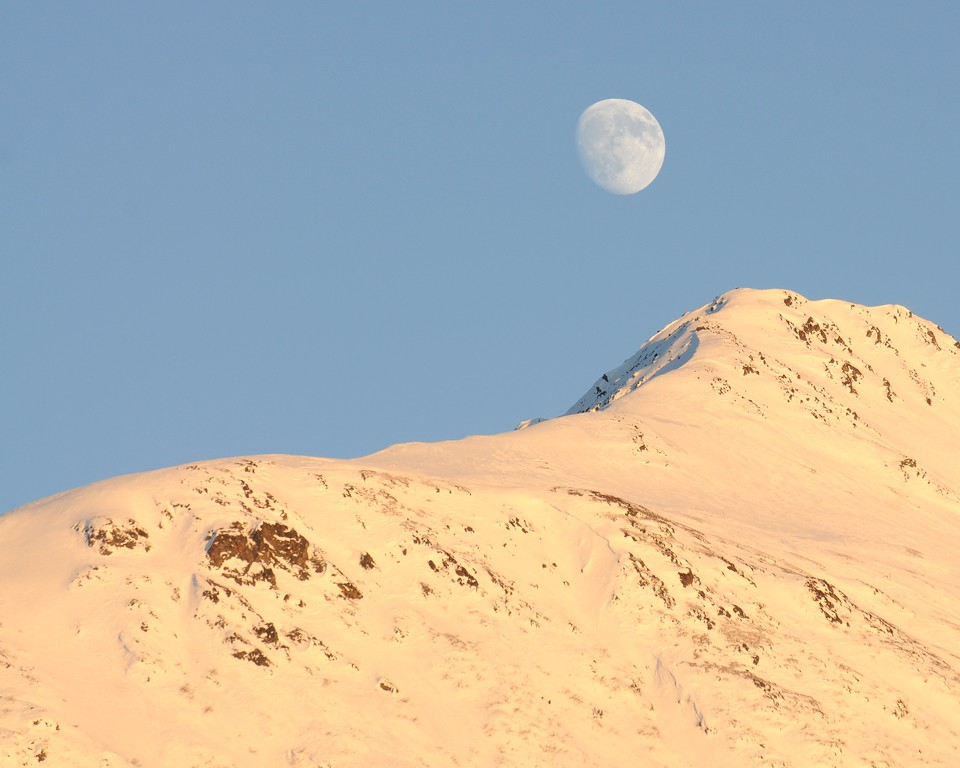 Moon over Mountains - Sunset - Turnagain Arm - Alaska - USA