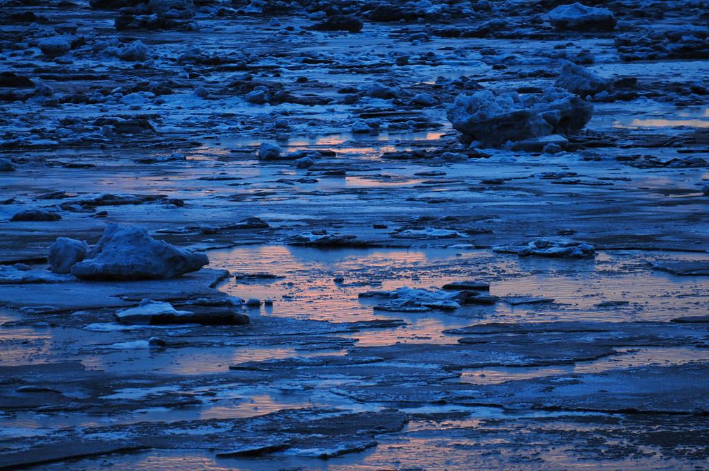 Sunset on Ice - Turnagain Arm - Anchorage - Alaska - USA