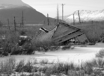 Building destroyed by the 1964 Earthquake, - Building - Architecture -  Turnagain Arm - Portage - Alaska - USA