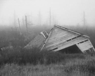 Alaska Travel Photography - Portage - Building damaged in 1964 earthquake in the fog