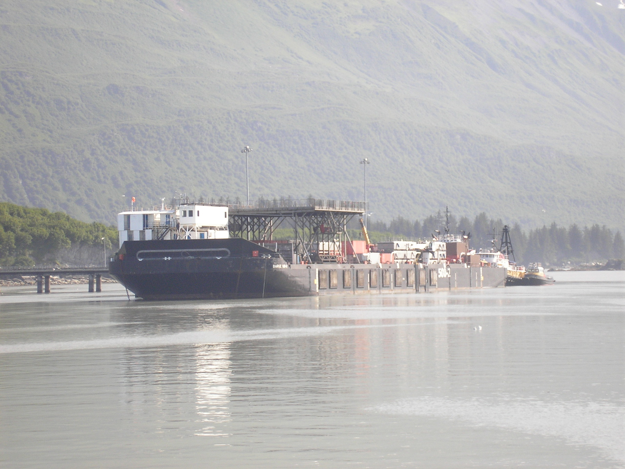 Our Captian said that this is an Oil Spill Containment ship. It has never been used, they commissioned the vessel after the Exxon Valdez spill.