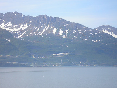 This is the terminus of the Alaska Pipeline in Valdez Harbor.