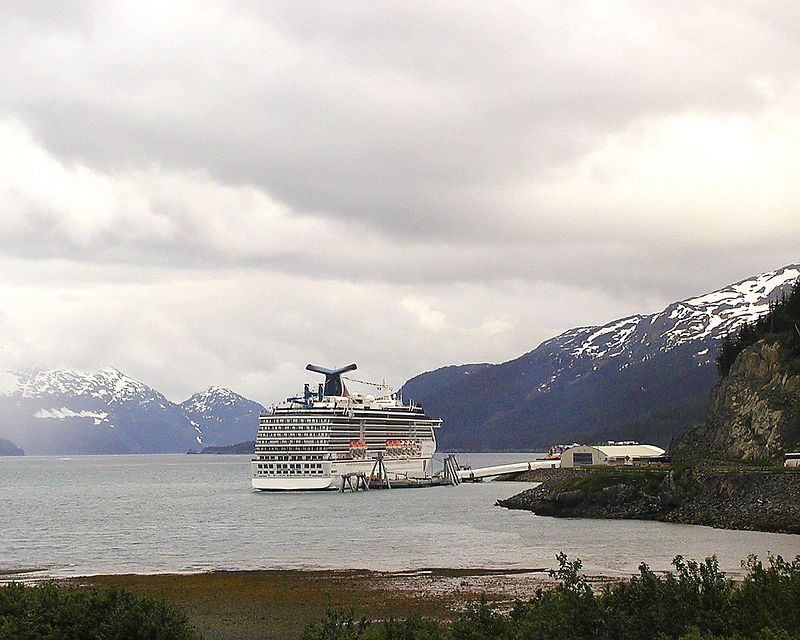 Cruise ship docked at Whittier.