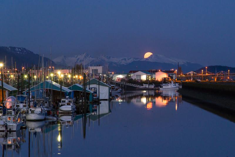 Full moonrise over Aurora Harbor, Juneau, AK