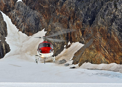 Helicopter landing on Norris Glacier, Juneau, Alaska