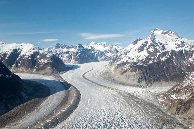 Merging glaciers showing medial moraines