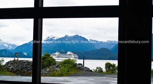 "Cruise ship leaving Sitka, seen through window. SEE ALSO:    <a href=""http://www.blurb.com/b/893025-north-to-alaska"">http://www.blurb.com/b/893025-north-to-alaska</a>"