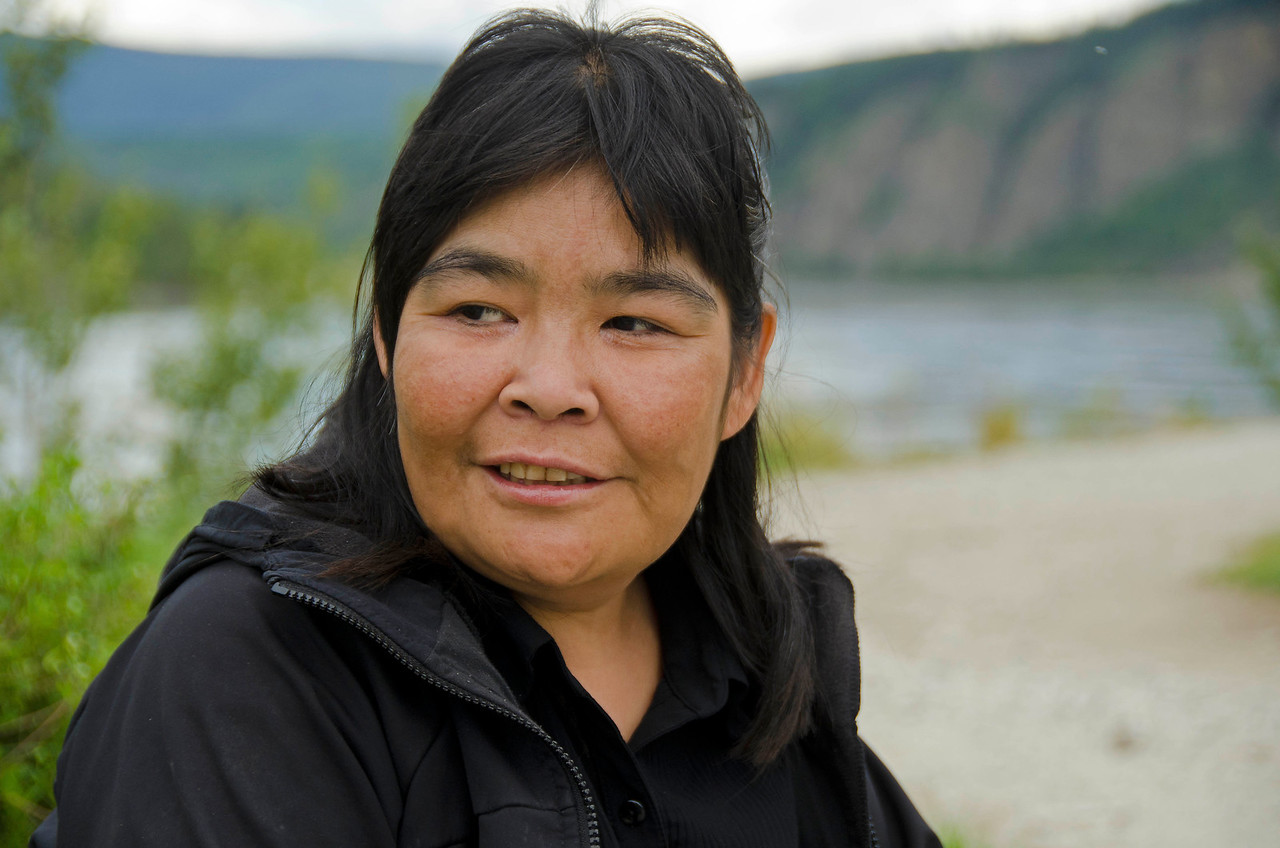 Ellen Sidney, homeless First Nation woman.  Dawson City, NT, Canada.