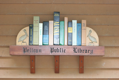 Outside Pelican Library (all books made of wood)