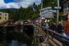 The old bordello district in Ketchikan is now a prime tourist spot filled with shops.