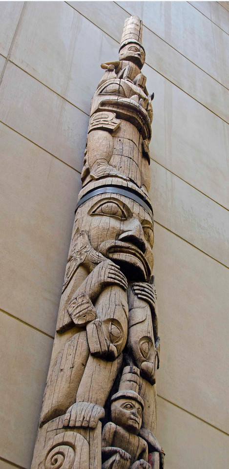 Tlingit totem pole, state capitol building, Juneau, AK.