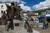 The Rock, a bronze sculpture unveiled in July 2010 pays homage to 7 individuals and trades that were key to Ketchikan's colorful past.