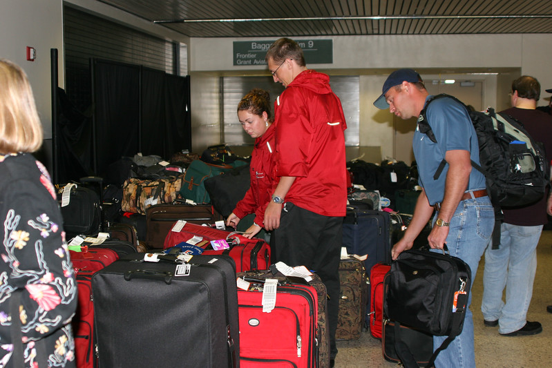 Alaska Cruise 2005. Our first cruise. Luggage  at Anchorage.