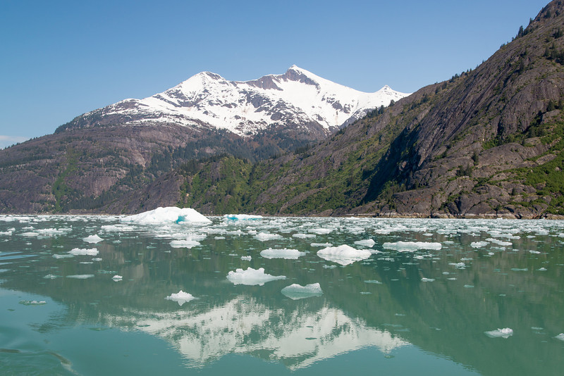 Making our way towards the Sawyer Glaciers in a small skiff