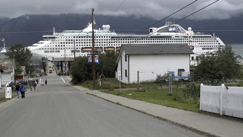 Sea Princess Cruise Ship just a couple of blocks from The Wild Iris.