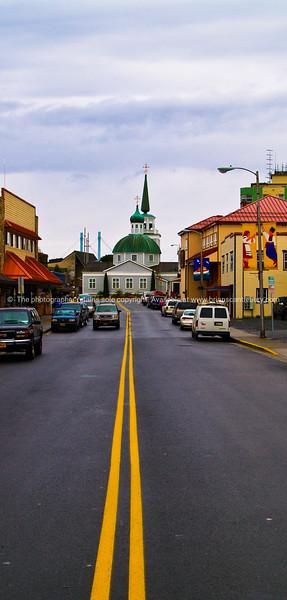 Centre lines, main street of Sitka, Alaska. SEE ALSO:   www.blurb.com/b/893025-north-to-alaska