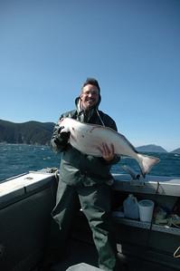 John with a halibut.