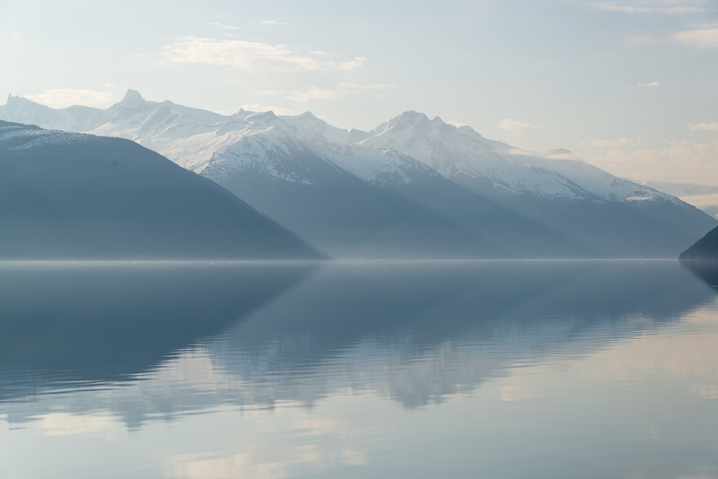 Early morning reflections in the waters of the Taku Inlet