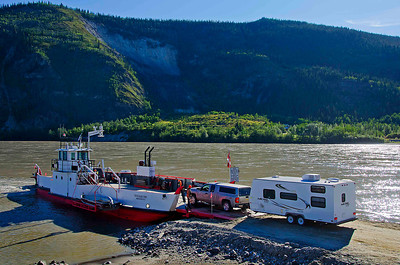 Crossing the Yukon River at Dawson City, Northwest Territory, Canada.