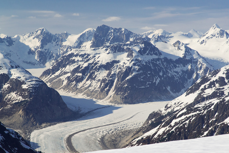 Merging glaciers showing medial moraines