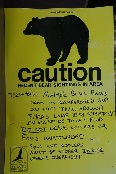 Bear caution at Byers Lake, Alaska.