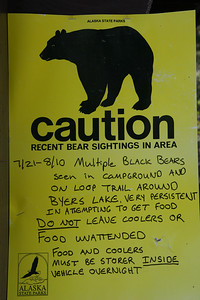 Bear caution at Byers Lake, Alaska.